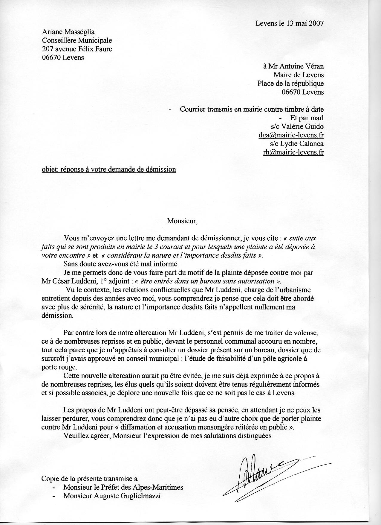 modele de lettre de demission d adjoint au maire Levens : Une élue qui dérange   ADN modele de lettre de demission d adjoint au maire